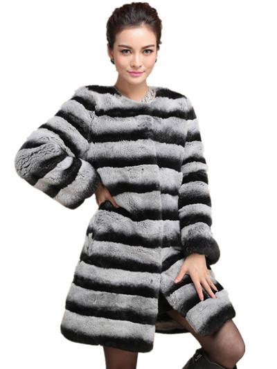 Genuine Real Fur Chinchilla Rex Rabbit Natural Fur Long Coat For Woman Overcoat Cross Grain Jackets Coats Rabbit OutwearОдежда и ак�е��уары<br><br><br>Aliexpress