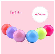2015 New Arrival Popular womens Cute Round Ball Lip Balm girls Lip Smacker Balm  Protector Labial makeup gift 1Pcs
