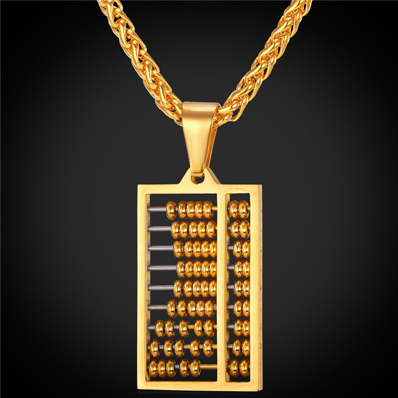 Abacus Pendant Necklace Charms Jewelry Gift Stainless Steel/Gold Plated Chain Men/Women 2016 New GP1892(China (Mainland))