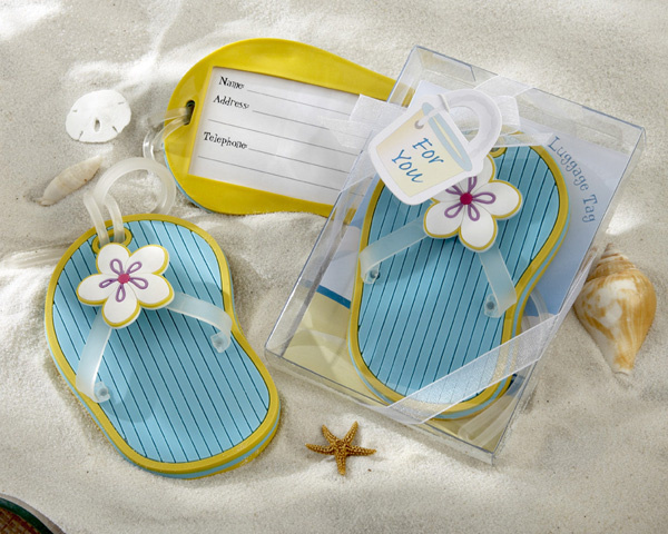 Free shipping 100sets/lot beach theme rubber flip flop luggage tag bridal shower favors and gifts, event party supplies(China (Mainland))