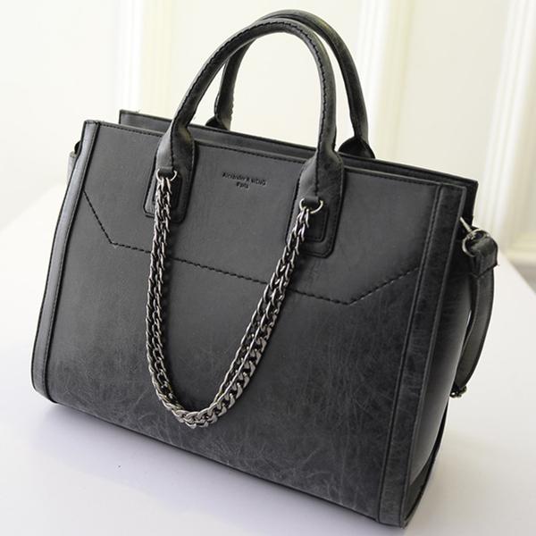 2015 large chain tote bag punk designer women leather handbag vintage pu lady big vintage shoulder bag casual bolsa feminina(China (Mainland))