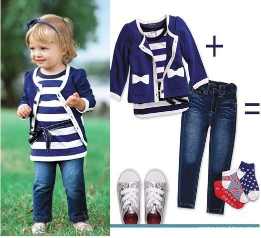 Hot sale!Free shipping 3sets/lot,baby girl clothes set (Coat +vest+Jeans),Baby Clothing set, Kids suit Children clothes(China (Mainland))