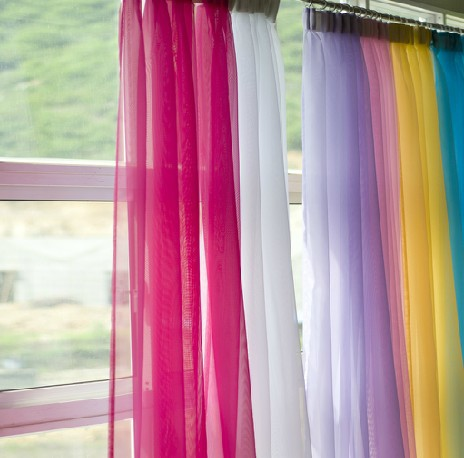 Hot sale ~ 2pcs/lot tape top europe gauze curtains 23 kinds of color . tulle cutain 140(W)*260cm Fastenings - hooks(China (Mainland))