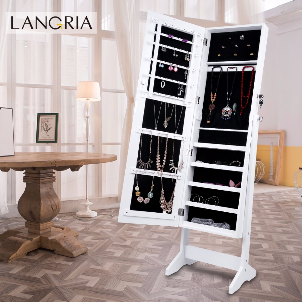 LANGRIA Lockable Mirrored Jewelry Armoire 4 Angle Adjustable Standing Cabinet Organizer Storage Boxes Bin with Dressing Mirror(China (Mainland))