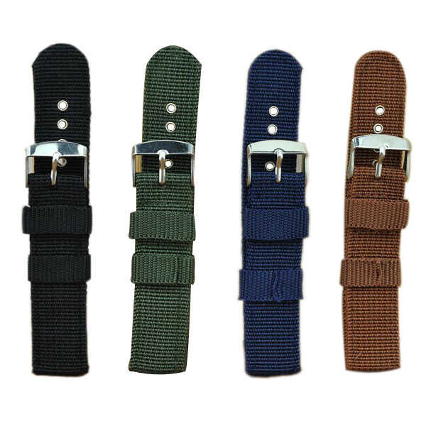Durable16mm 18mm 20mm 22mm  Army Military NATO Fabric Nylon Watch Strap Bands Waterproof Watch Straps Silver Rings Watchbands(China (Mainland))
