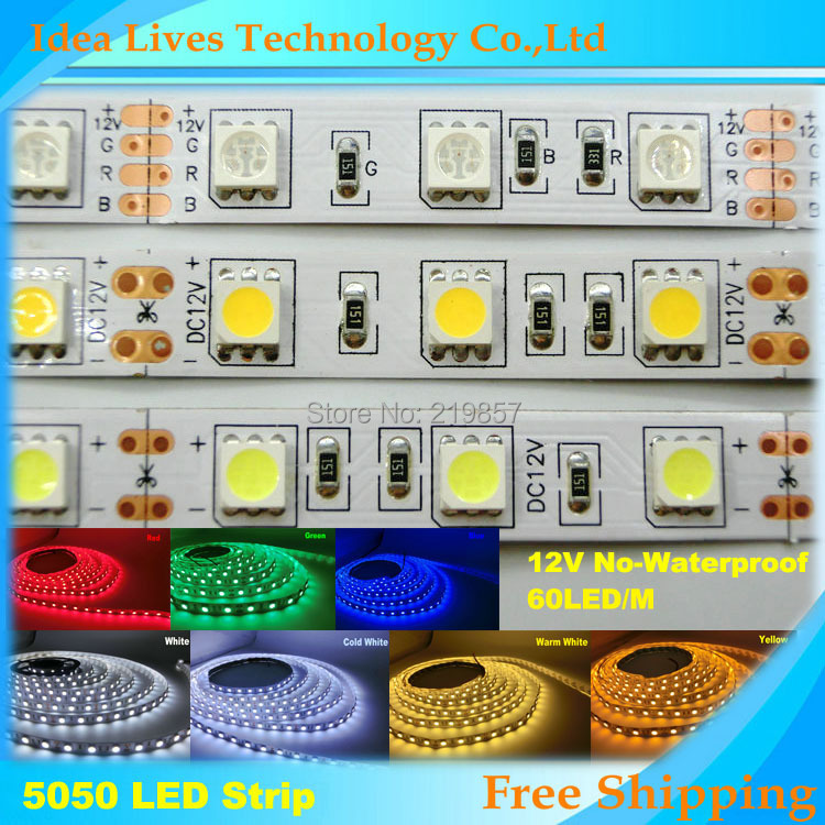 LED strip 5050 12V flexible light 60 leds/m,Warm White,White,Blue,Green,Red,Yellow,RGB color,5m/lot(China (Mainland))