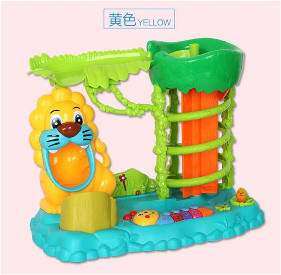 Children's Green Plastic Learning Machine colour boxes package Puzzle Swivel Balls Forest Paradise Lighting Music Anime kids toy