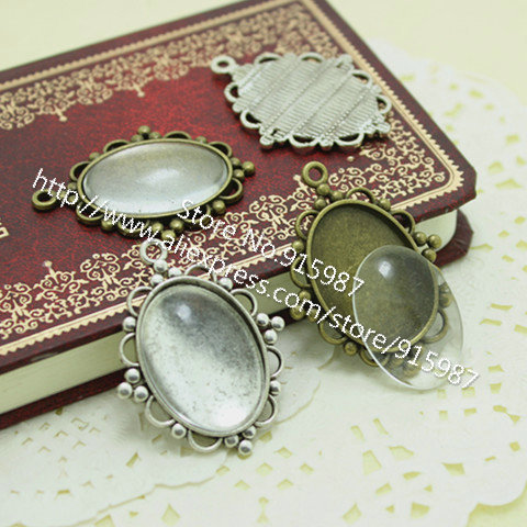 10 set/lot Antique Silver Metal Alloy Cameo Flower 18*25mm Oval Pendant Cabochon Settings + Clear Glass Cabochons  D0073<br><br>Aliexpress