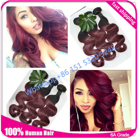Ombre Brazilian Hair 6A Grade Ombre Hair Bundles Brazilian Body Wave Ombre Two Tone Hair Ombre human hairy Weave Bundles 1b 99j