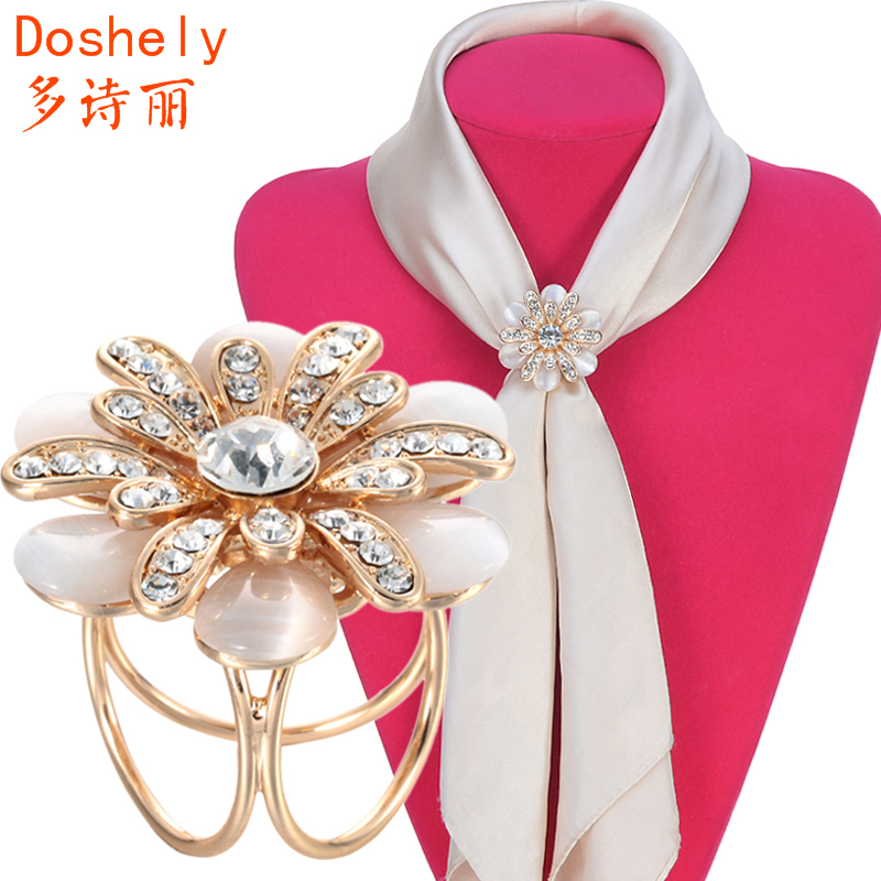 Free shipping! Women jewelry Exquisite Daisy flower Czech diamond Opals Gold plated Brooch Shawl Scarves Scarf buckle ring clips(China (Mainland))