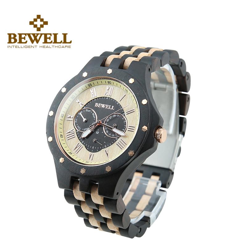 BEWELL Men Three Functional Dials Design Ebony Wood Watch Calendar Date Life Waterproof Watch Fashion Quartz Wristwatch 116C(China (Mainland))