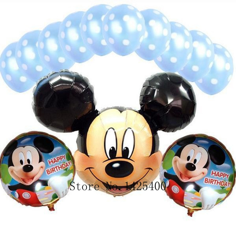 Free shipping 13pcs / lots Foil Balloons Mickey suit children's toys birthday party decorations dot latex balloons wholesale(China (Mainland))