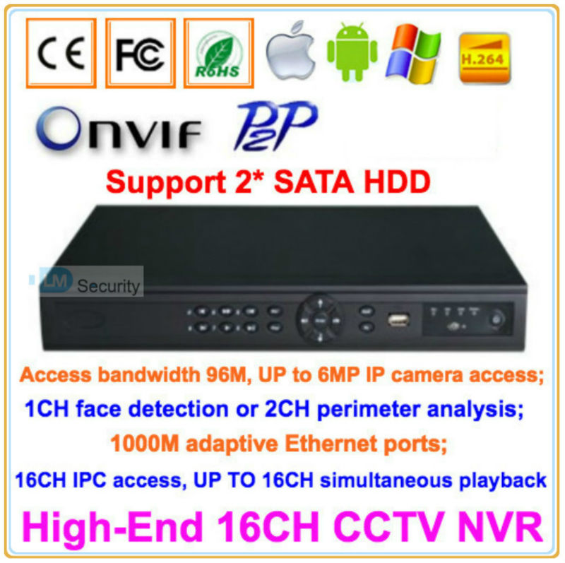 High-End 16CH CCTV IP NVR 1080P Support ONVIF P2P Kinds of Mobile Viewing Free Client Software 16 Channels Security Network DVR(China (Mainland))