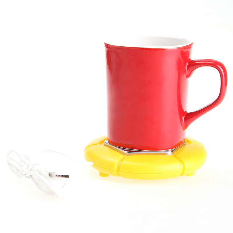 Yellow/Black/White Portable USB Electronics Gadgets Novelty Item Powered Cup Mug Warmer Coffee Tea Drink USB Heater Tray Pad(China (Mainland))