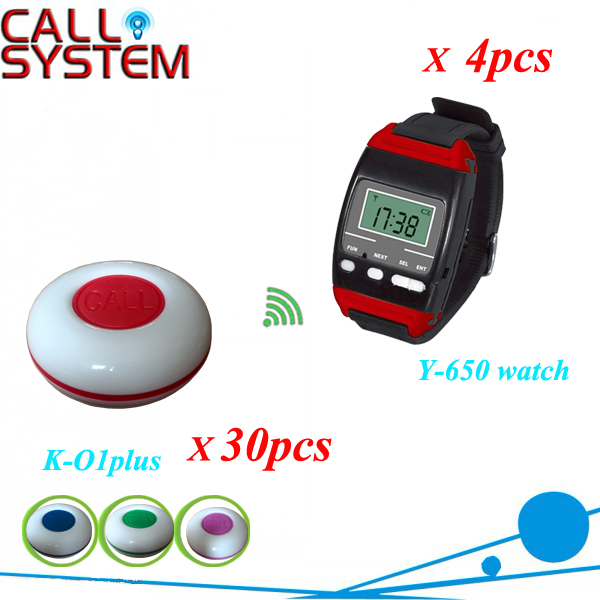 CE Wireelss Restaurant Waiter Calling System 30 table call button and 4 watch pager y-650 433mhz free shipping(China (Mainland))
