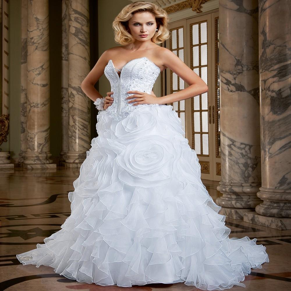 Hot sale luxury ruffles wedding dresses 2015 full beaded for Fully beaded wedding dresses