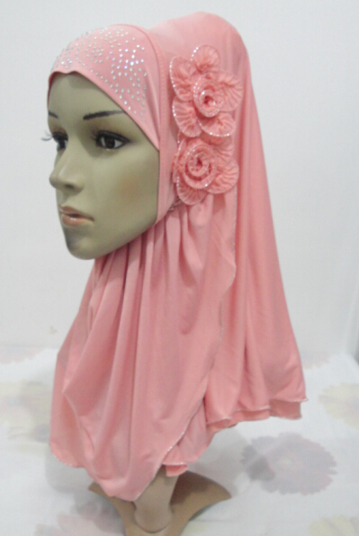 H972 latest muslim one piece pull on hijab with 2 pcs flowers,fast delivery(China (Mainland))