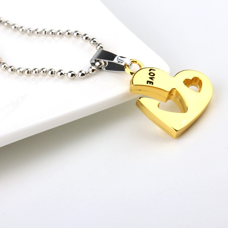 1set Charm Woman Couple Jewelry Love Heart Arrow Pendant Necklaces For Womens Friendship Gold Silver Plated Long Chains Necklace