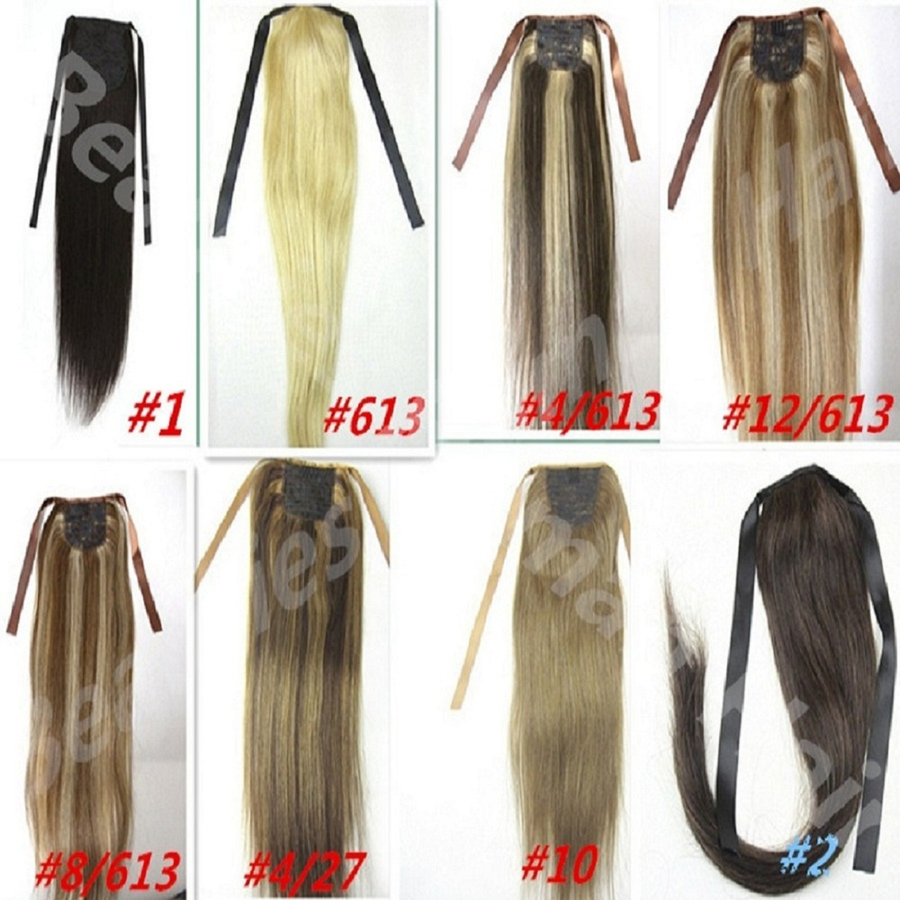16182022242628 soft indian remy clips in/on  human hair extensions horstail ponytail 22 colors available  60g<br><br>Aliexpress