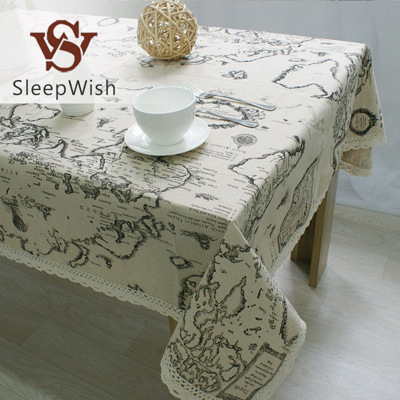 SleepWish Tablecloth Map European Functional Table Cloth for Picnic Party Linen Cotton Tablecloths Rectangular 9 Sizes(China (Mainland))