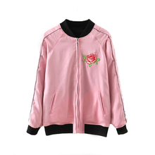 Buy 2017 Spring Sides Wear Women Bomber Jacket Embroidery Flower Jacket Coat Baseball Uniform Outerwear Stand Collar Jacket for $34.95 in AliExpress store