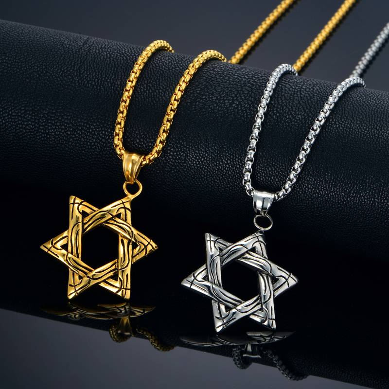 Star of David Necklace Jewish Jewelry Wholesale Gold Plated Israel Stainless Steel Pendant Necklace with Rolo Chain(China (Mainland))