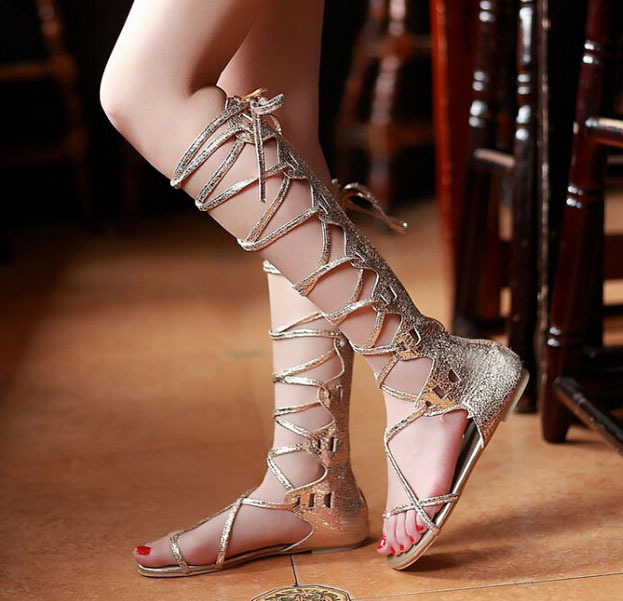 New 2014 Plus Size 34-43 10 11 Cross Striped Lacing Summer Flip Flop Sandals Boot for  Women Flat Sandals Boot for Women<br><br>Aliexpress