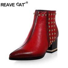 Nueva Punky de la llegada Medio tobillo corto de cuero genuino verdadero Natrual Alta botas de tacón botas Mujer nieve calzado tamaño EUR 34-39 Negro Rojo(China (Mainland))
