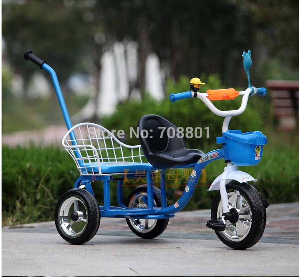 2014 child tricycle twins baby bicycle double seat tricycle tandem trike(China (Mainland))