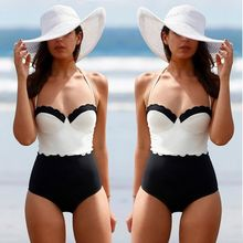 One Piece Monokini Swimsuit 2016 Women Push Up Swimsuit Scallop Hot Swimwear Sexy Swim Wear