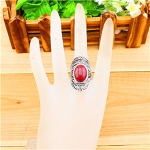 Vintage Look Tibetan Alloy Antique Silver Plated Victoria Style Flower Oval Turquoise Bead Ring TR224
