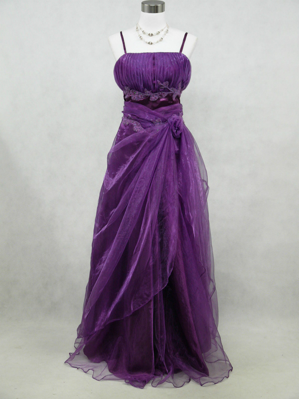 Cherlone plus size satin purple ballgown wedding evening for Purple plus size dresses for weddings