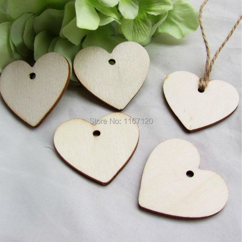 200Pcs Wooden Wood Love Heart Wedding Card Wish Tree Gift Tags +Jute String 40mm*37mm(China (Mainland))