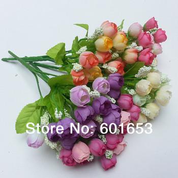 Colorful Silk Flowers artificial flower Romantic Mini Rose Home Garden Decor Faux Rose Silk Flowers Wedding Rose