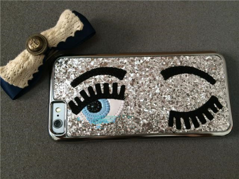 Fashion 3D Sequins Big Blinking Eyes Phone Case for iPhone 7 7 Plus Hard Glitter Back Cover Coque Fundas Capa