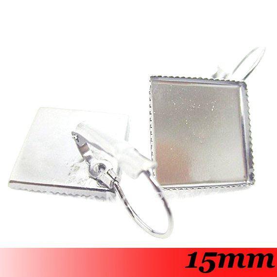 Silver Plated Tone Metal 200PCS 15mm Earring Blank Base Trays Bezel Cabochon Setting<br><br>Aliexpress