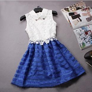 2013 women's organza lace chiffon one-piece dress fashion slim peter pan collar puff skirt