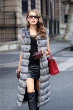 Faux Fox Mink Fur Vest Women 2015 Winter New Fashion Slims Super Long Fake Fur Vests Furry Vest Female Abrigos Mujer 3 Color(China (Mainland))