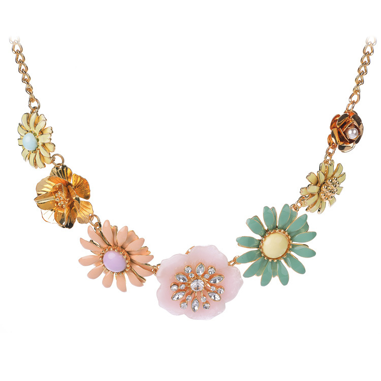 collares colorful flower choker necklace gold color alloy
