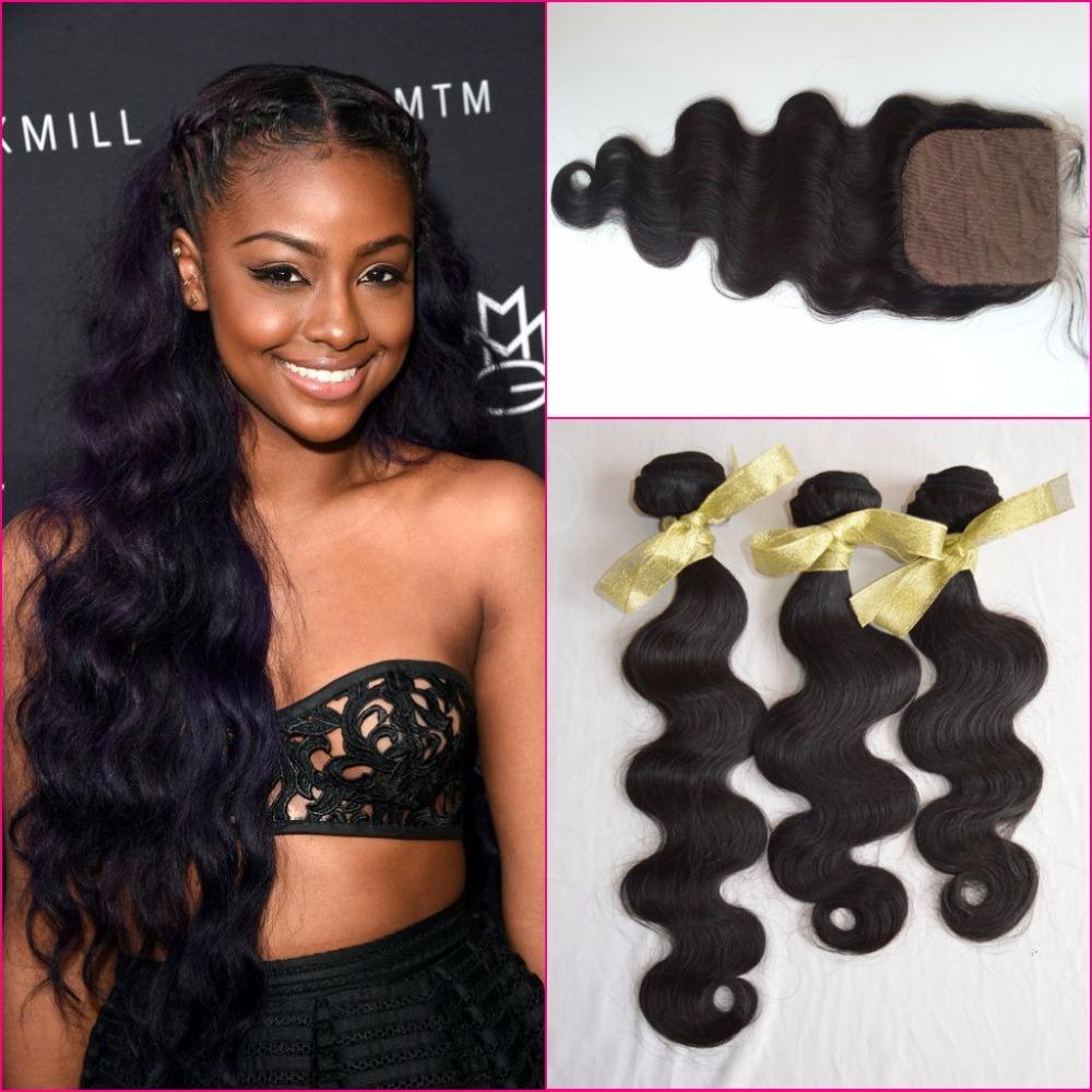 Здесь можно купить  8A Human Hair Weave 3 Bundles Vietnamese Body Wave With Silk Closure,Peruvian Virgin Hair With Silk Closure Peruvian Wavy Hair  Волосы и аксессуары