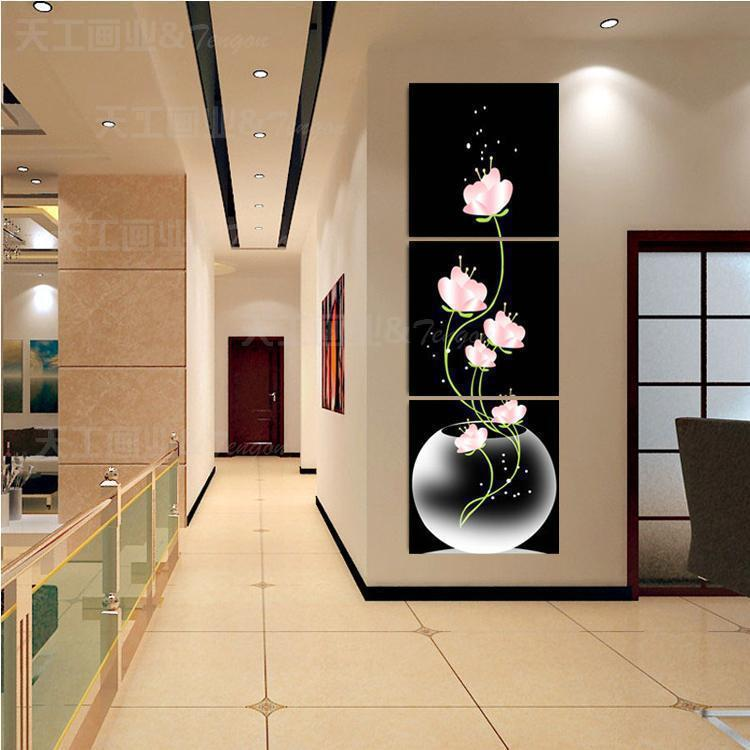 3 panel Free shipping Hot Sell Beautiful Pink Flower Modern Wall Painting Home Decor Picture Print on Canvas Framed Art T/432(China (Mainland))