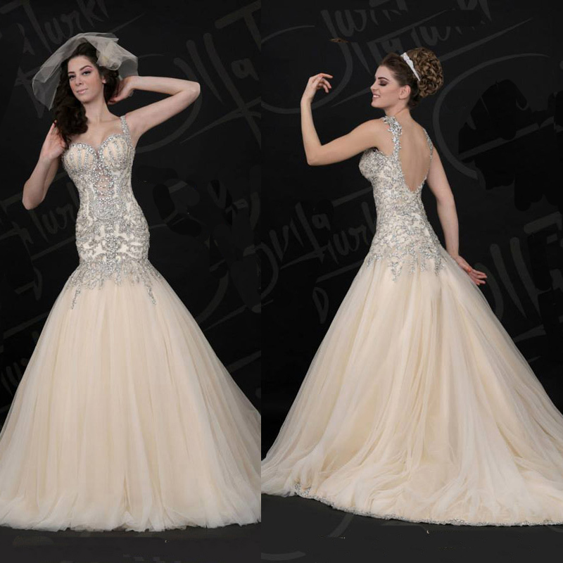 Open Front 2013 Free Shipping New Style Spaghetti Crystals Luxury Wedding Dresses Brush Train Bling Bling Bridal Gowns(China (Mainland))