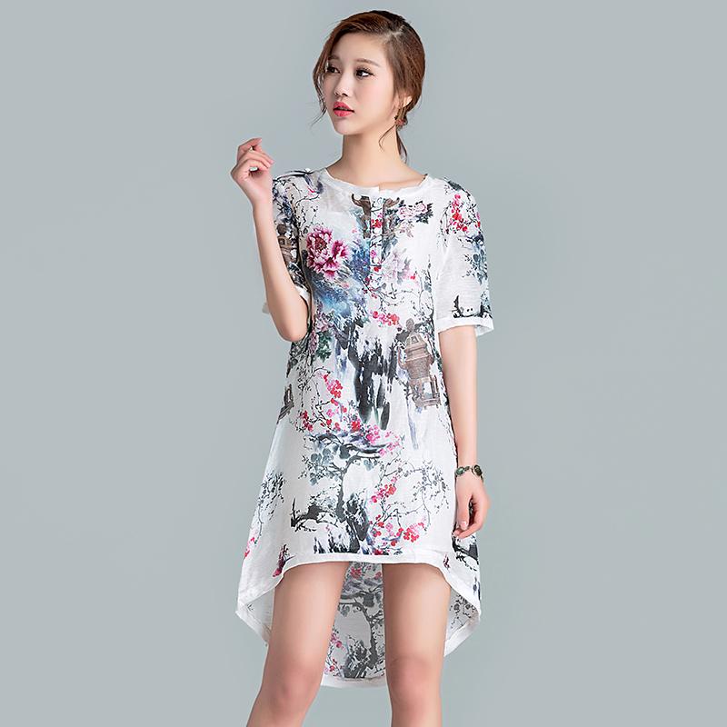 2016 Summer Dresses Casual Cotton O-Neck Short Sleeve Dress Animals/Plants Flower Printing Clothing Chinese Style Female Dress(China (Mainland))