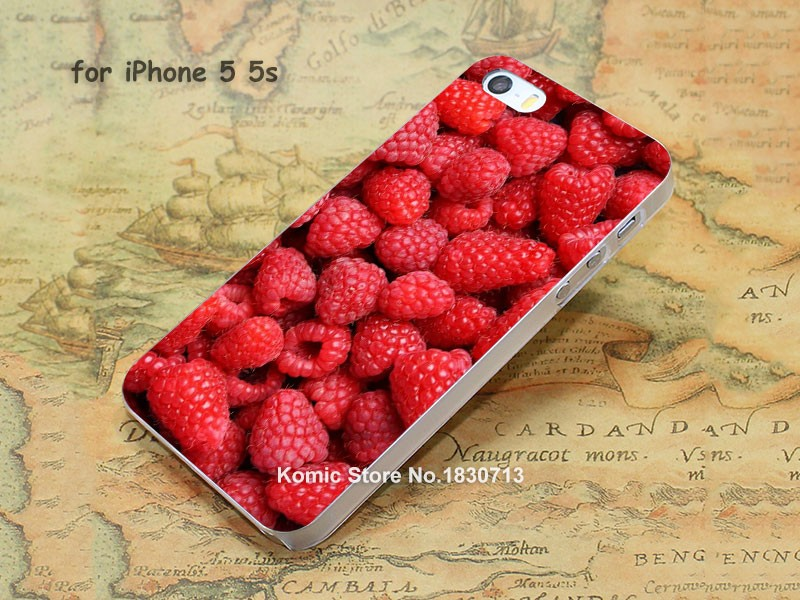 Green Cherry Delicious Raspberries Pattern hard transparent clear Cover Case for iPhone 4 4s 5 5s 5c 6 6s 6 Plus