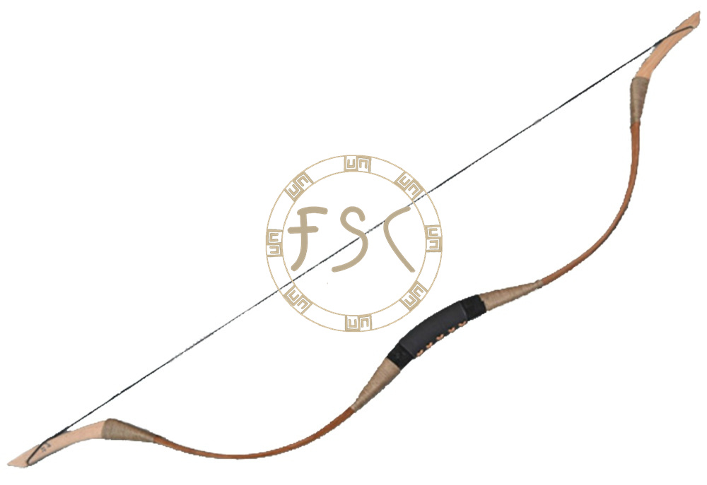 New cowhide archery  hunting traditional recurve bow packed by real cowhide decorative brown cowhide mongolia  bow<br>