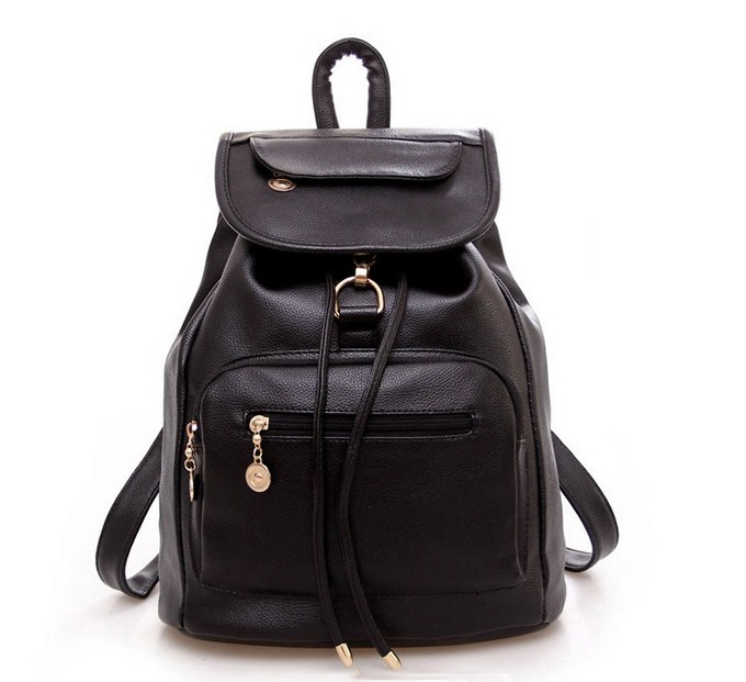 New black women backpack preppy style leather school bags for women retro vintage backpack students school bag backpack female