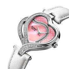 BUREI Luxury Brand Heart Watch Women Quartz Genuine Leather Strap 30m Waterproof Wristwatch Rhinestone Dress Watches Reloj Mujer
