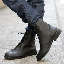 High-top shoes male boots the trend of men casual leather genuine leather martin boots carved leather(China (Mainland))
