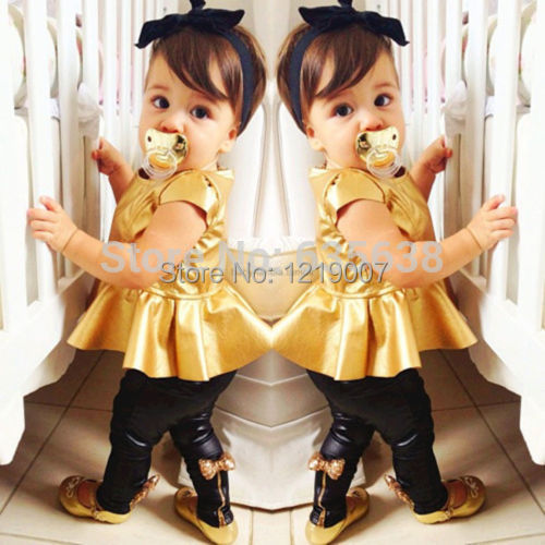 New 2015 Hot Baby Girls Kids Shirt Dress + Legging Pants Casual Clothes Sets Outfits Free Shipping(China (Mainland))