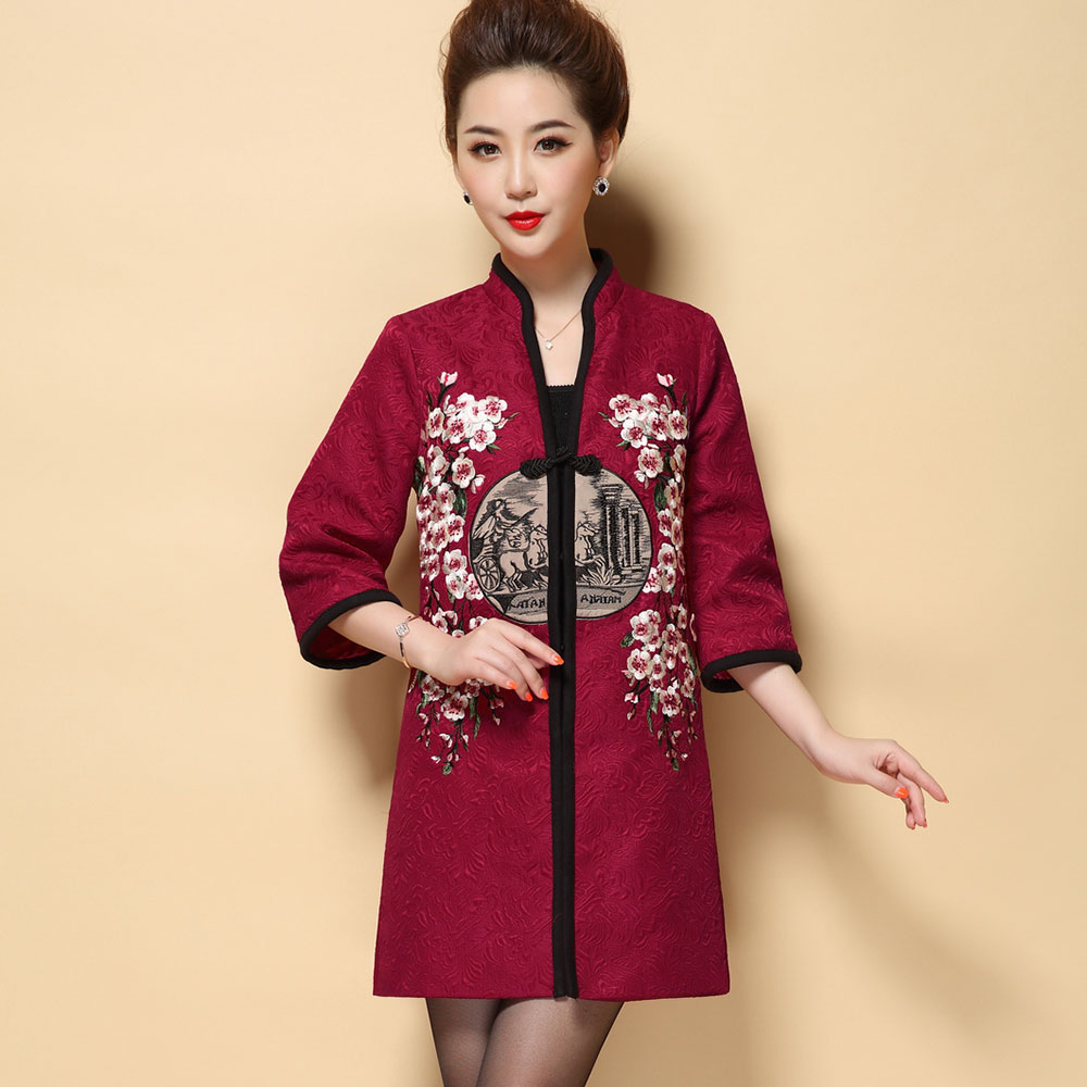 Plus Size 5XL Chinese Elegant Winter Coat Female Mother Tops Stand Collar Plum Blossom Embroidered Trench Coat For Women CoatsОдежда и ак�е��уары<br><br><br>Aliexpress